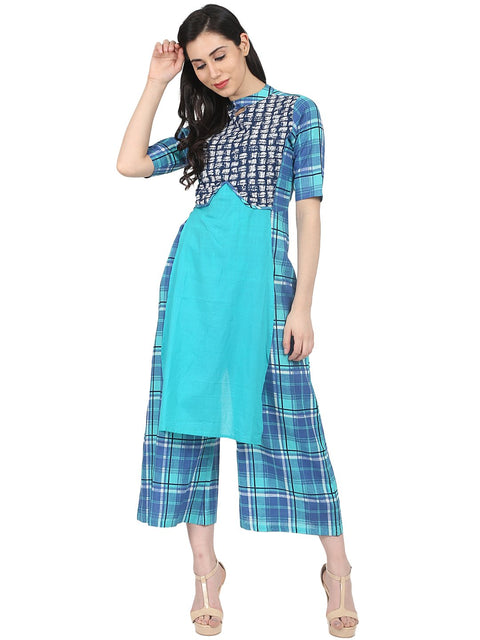 Nayo Blue Check printed half sleeve cotton jumpsuit