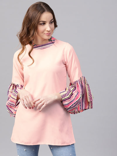 Solid pink flared sleeve crepe tunics