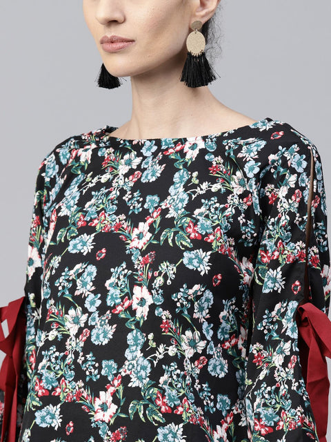 Black & Blue printed full sleeve Crepe tops with red palazzo