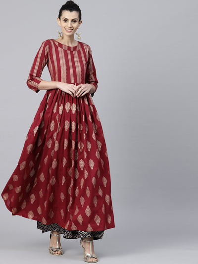Red printed 3/4th sleeve cotton floor length anarkali kurta