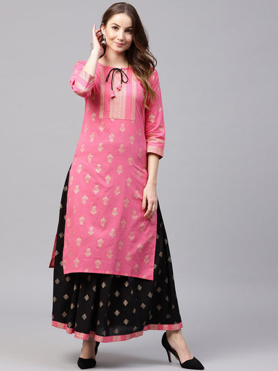 Pink Golden print 3/4th sleeve cotton kurta with Black printed skirt