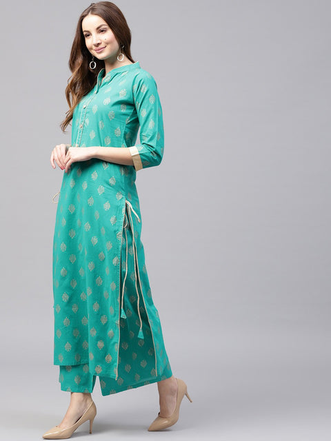 Green printed 3/4th sleeve cotton kurta with green printed ankle length palazzo
