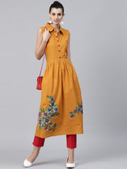 Mustard block printed sleeveless cotton Anarkali kurta