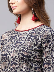 Blue printed 3/4th sleeve cotton kurta with red flared skirt