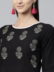 Black Block Printed 3/4th sleeve cotton Kurta