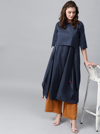 Navy blue 3/4th sleeve cotton layered kurta