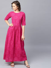 Pink printed half sleeve cotton flared maxi dress