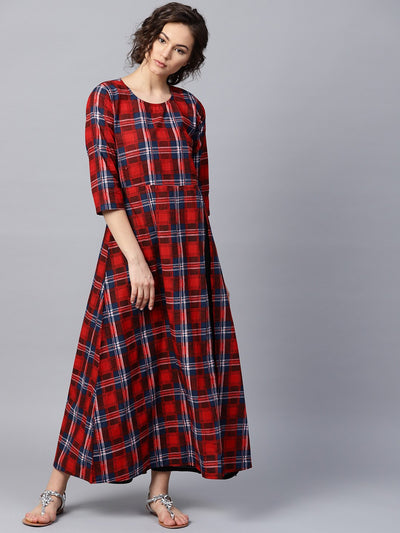 Red check 3/4th sleeve cotton maxi dress