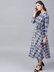 Blue printed 3/4th sleeve cotton A-line maxi dress