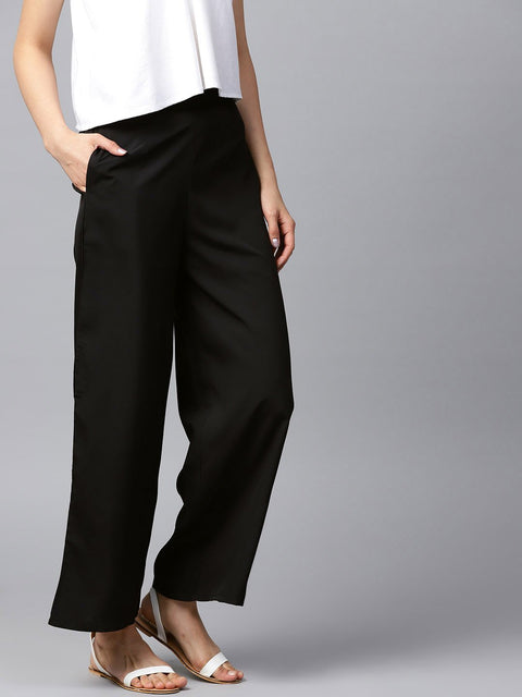 Black solid ankle length crepe Palazzo with side pocket