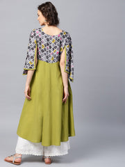Green 3/4th sleeve cotton Anarkali kurta with yoke printed
