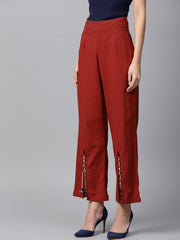 Red cotton straight fit palazzo