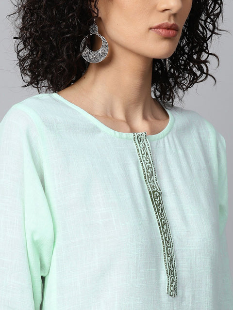 Pista Green 3/4th sleeve cotton block printed A-line kurta with Flared palazzo