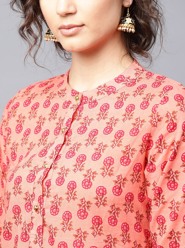 Peach printed 3/4th sleeve cotton straight kurta