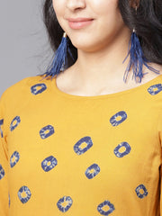 Mustard 3/4th sleeve cotton block printed Anarkali kurta