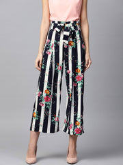 Blue floral printed Ankle length straight Palazzo