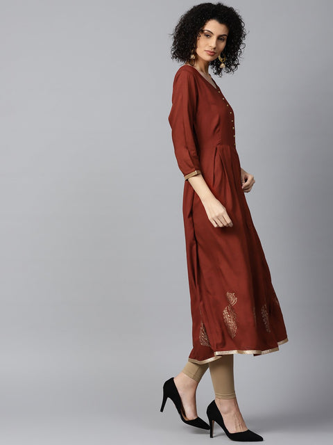 Maroon block printed 3/4th sleeve cotton Anarkali kurta