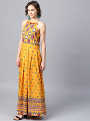 Mustard printed sleeveless cotton Anarkali kurta