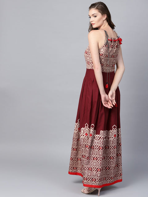 Maroon printed sleeveless flex Anarkali kurta