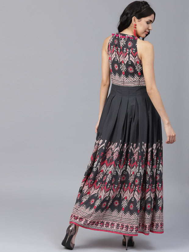 Navy Blue printed sleeveless voile Anarkali kurta
