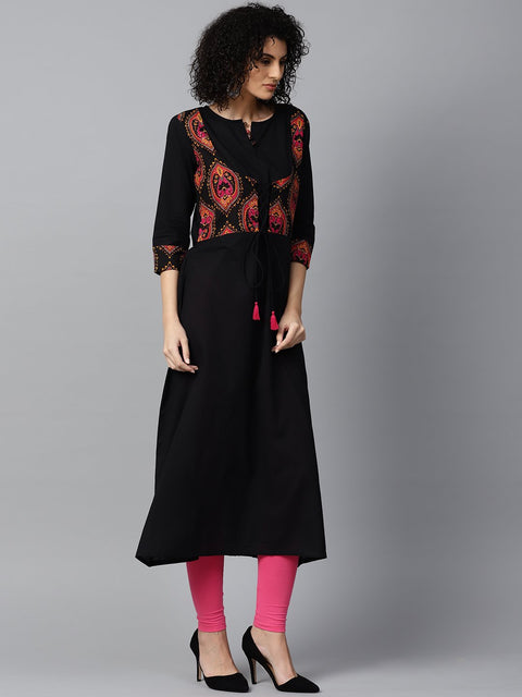 Black 3/4th sleeve cotton anarkali kurta with printed jacket at yoke