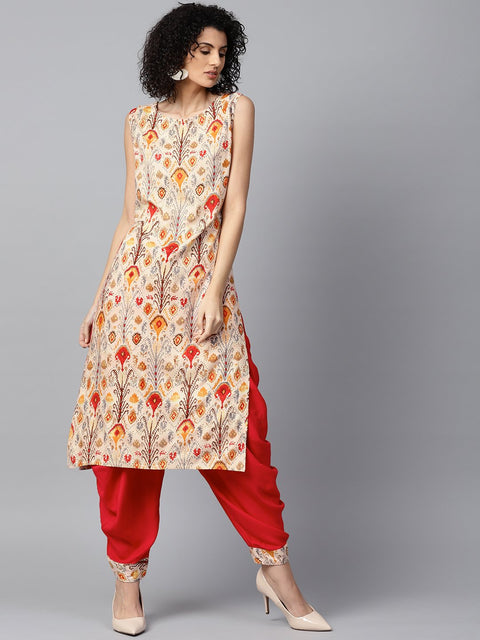Red printed sleeveless cotton kurta with red ankle length dhoti