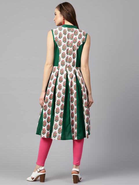 Green printed sleeveless cotton Anarkali kurta