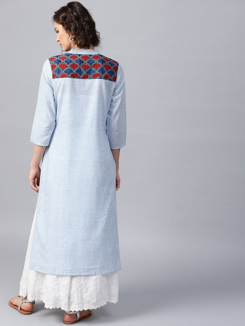 Blue striped 3/4th sleeve cotton straight kurta