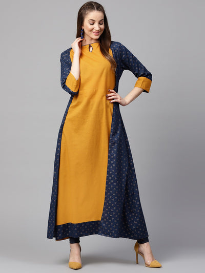 Yellow 3/4th sleeve cotton kurta with printed front open jacket kurta