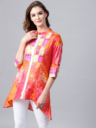 Red foil printed 3/4th sleeve cotton tunic