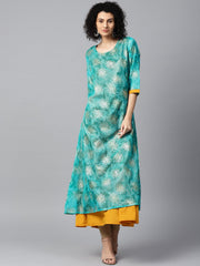 Blue foil printed 3/4th sleeve anarkali double layer kurta