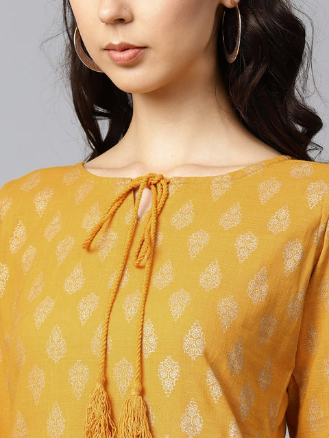 Yellow printed 3/4th sleeve cold shoulder cotton kurta with yellow printed palazzo