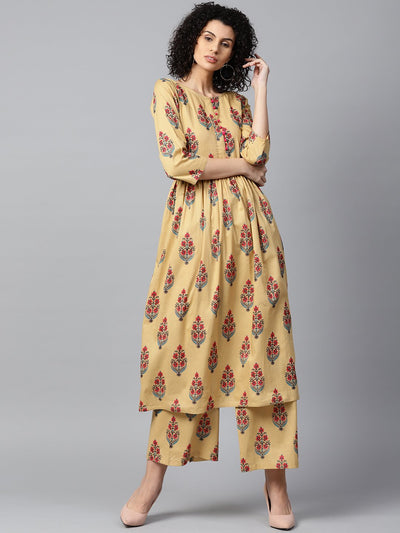 Yellow printed 3/4th sleeve cotton Anarkali kurta with printed palazzo