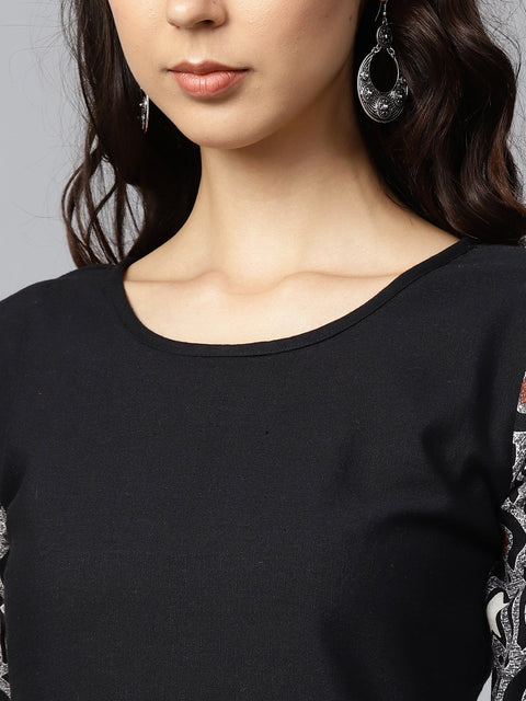Black printed half sleeve cotton A-line kurta with white printed palazzo