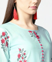 Turquoise Blue printed 3/4th sleeve cotton Anarkali kurta with printed palazzo