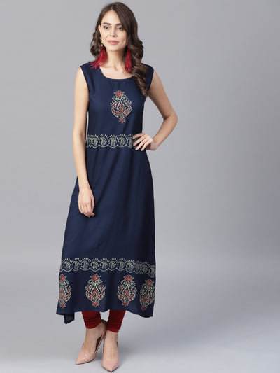 Navy blue block printed sleeveless rayon A-line kurta