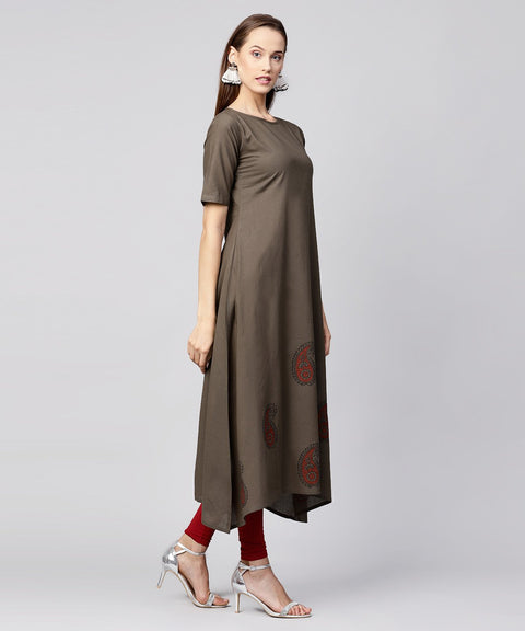 Grey half sleeve block printed cotton a-line kurta