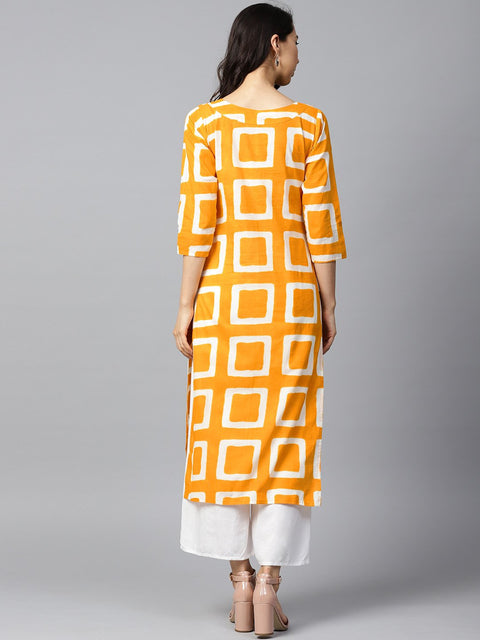 Yellow printed 3/4th sleeve cotton straight kurta