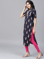 Black printed half sleeve cotton kurta