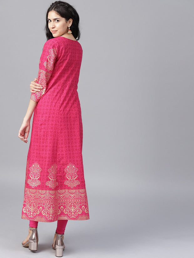 Maroon printed 3/4th sleeve cotton A-line kurta