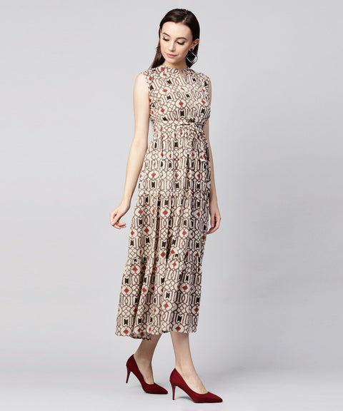 Beige printed sleeveless cotton maxi dress
