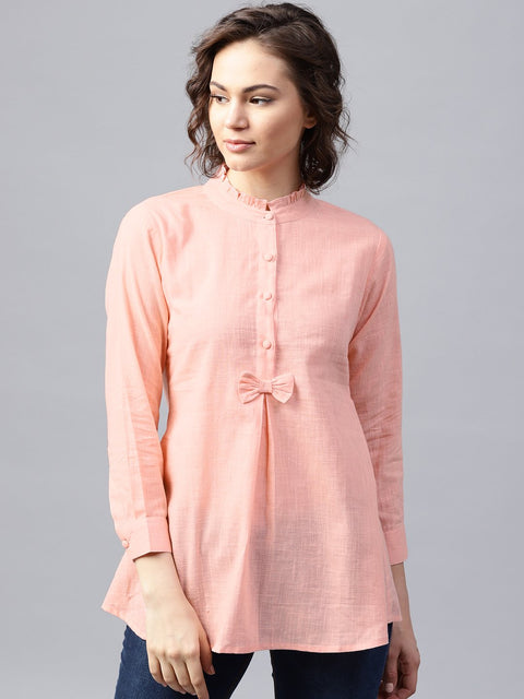 Pink full sleeve cotton slub A-line tunic