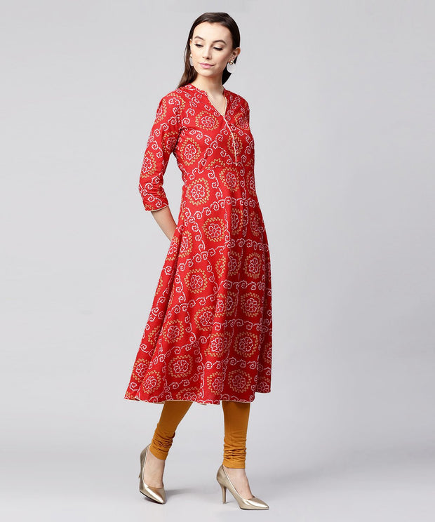 Red 3/4th sleeve cotton anarkali kurta