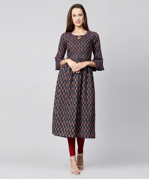 Blue printed circle sleeve cotton Anarkali kurta