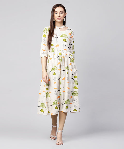 Off White printed half sleeve cotton flax anarkali kurta