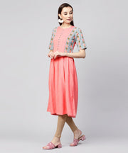 Pink half sleeve cotton slub printed anarkali kurta