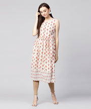 Off White printed sleeveless cotton flax Anarkali kurta