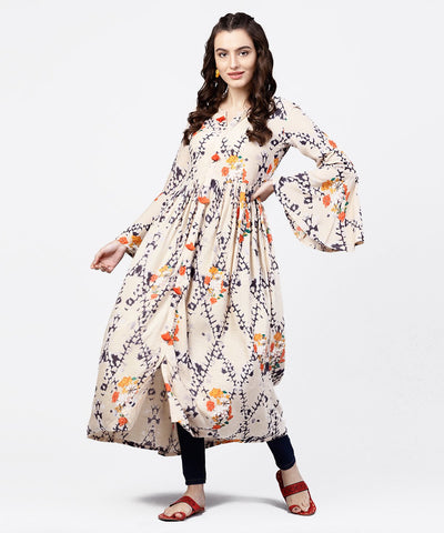 White printed full sleeve rayon slub anarkali kurta