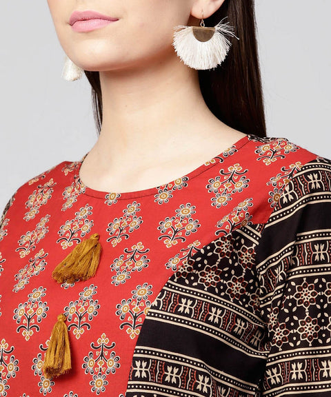 Red & Black printed 3/4th sleeve cotton A-line low-high kurta