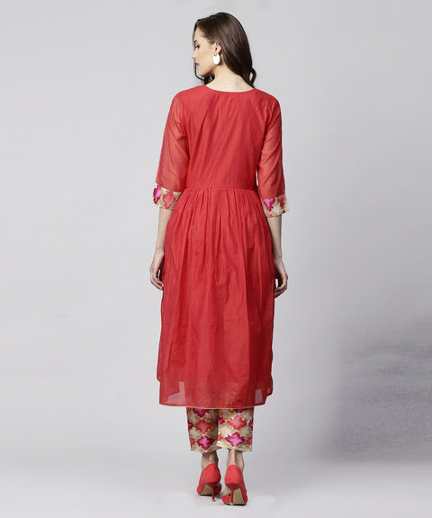 Red 3/4th sleeve chanderi printed anarkali kurta with printed palazzo